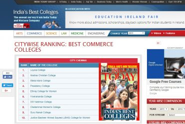 India Today Commerce Colleges